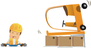 Details of forklift truck and accident at work